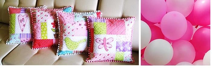 фото подушек на диване и воздушных шаров: пижамная вечеринка для девочек