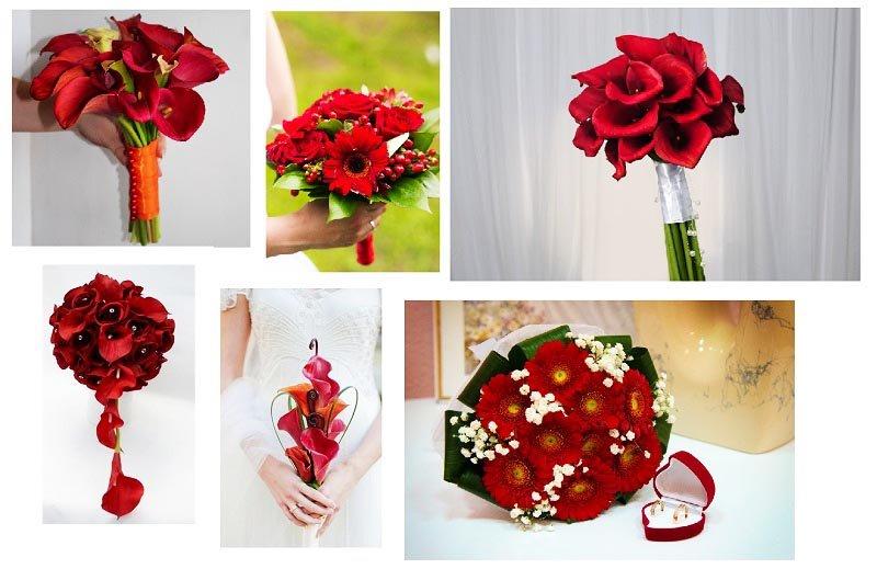 фотографии букетов для невесты с различными красными цветами: оформление свадьбы в красном цвете