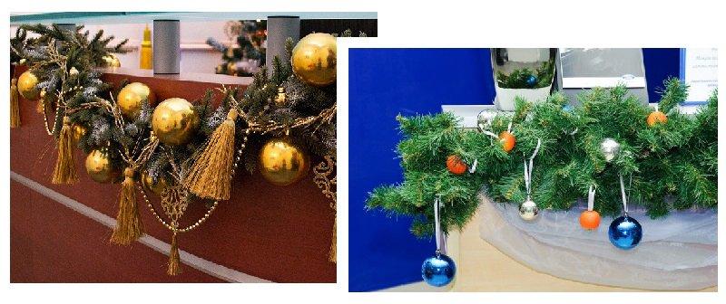 фото композиций из еловых веток: оформление новогоднего корпоратива