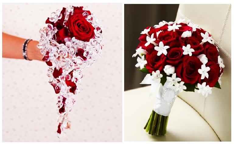 фотографии букетов для невесты с белыми цветочками и стразами: оформление свадьбы в красном цвете