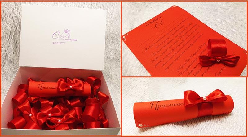 фото приглашений на свадьбу: оформление свадьбы в красном цвете