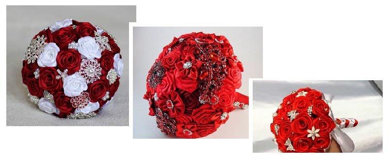 фотографии букетов для невесты из лент: оформление свадьбы в красном цвете
