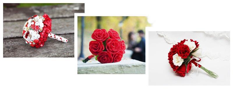 фотографии самодельных букетов для невесты: оформление свадьбы в красном цвете