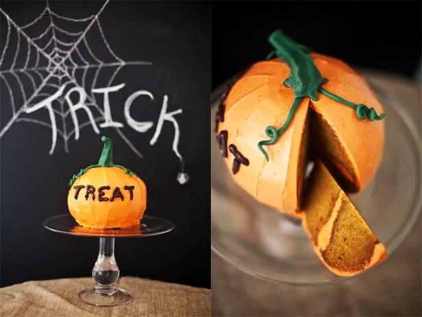 фото тортика-тыквы: сладкое оформление хэллоуина
