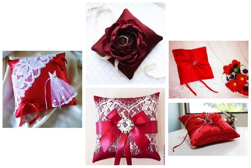 фото подушечек для колец: оформление свадьбы в красном цвете