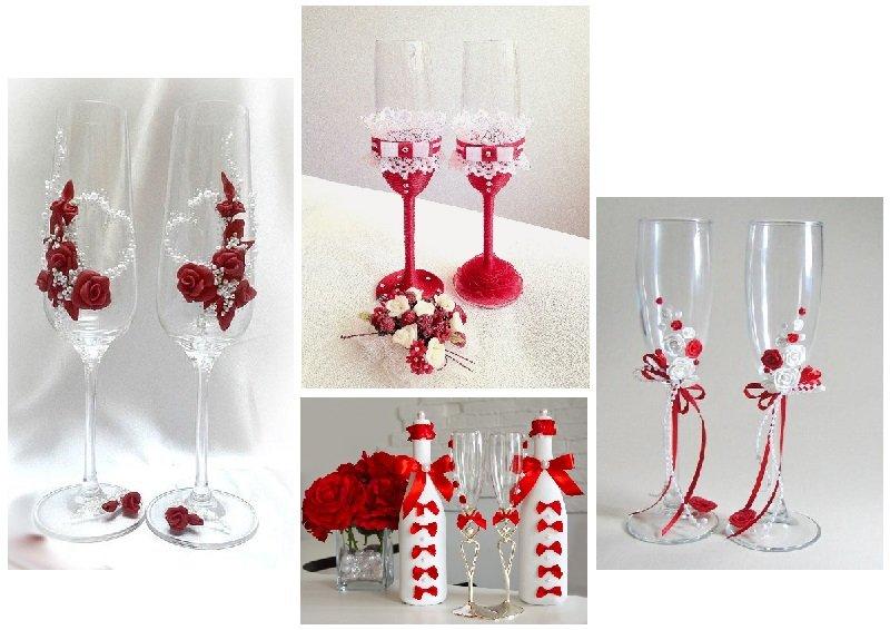 фото оформления бокалов на свадьбу: оформление свадьбы в красном цвете