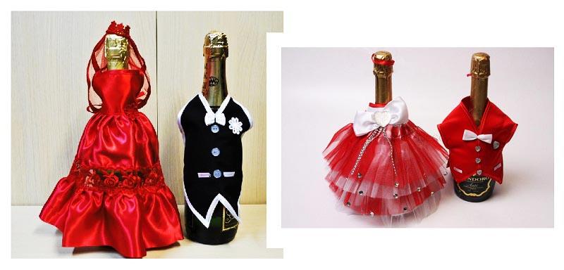 фото оформления шампанского: оформление свадьбы в красном цвете