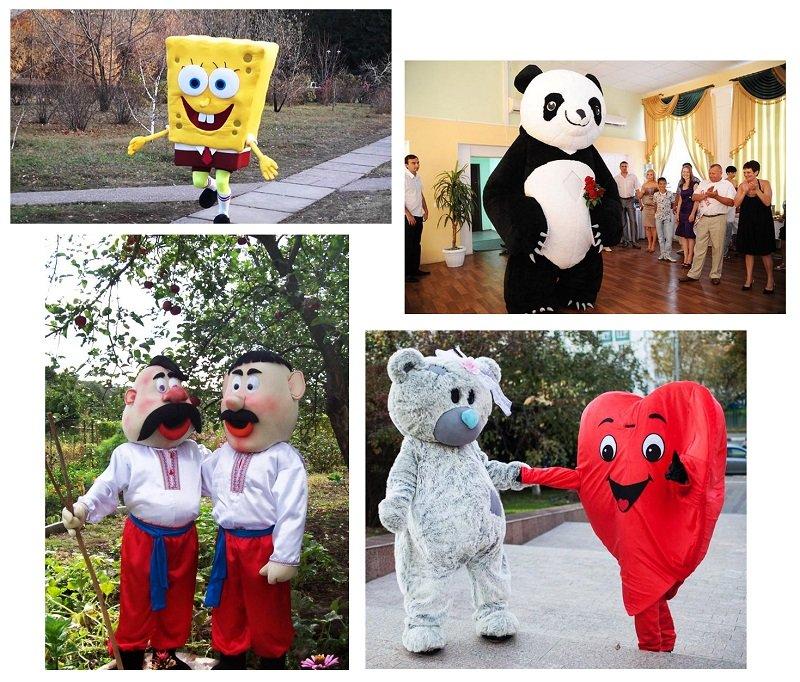 ростовые куклы: спанч боб, панда, казаки, сердце