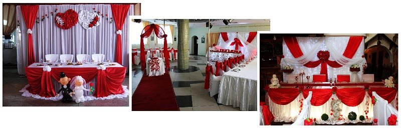 фото оформления зала на свадьбу в красном цвете: оформление свадьбы в красном цвете