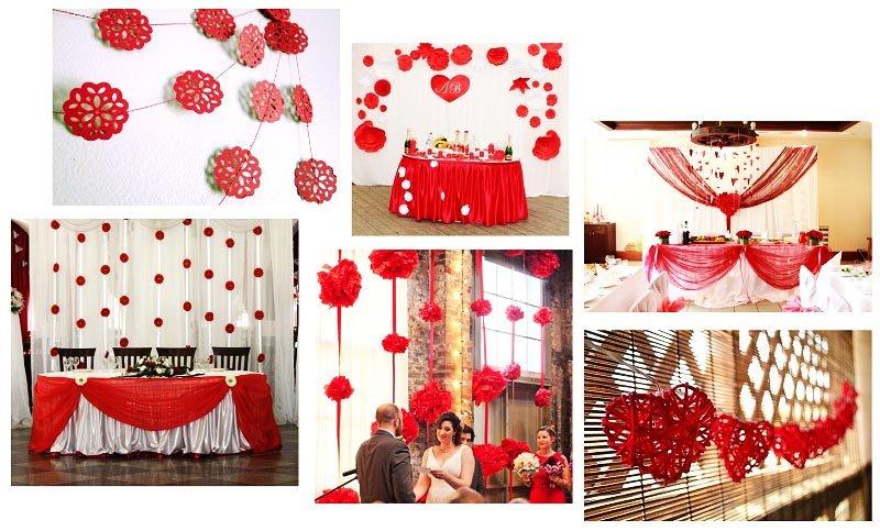 фото оформления зала при помощи гирлянд из бумаги, бусин и гигантских цветов: оформление свадьбы в красном цвете