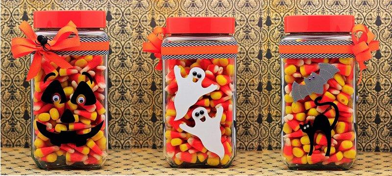 фото вариантов декора обычных баночек: сладкое оформление хэллоуина
