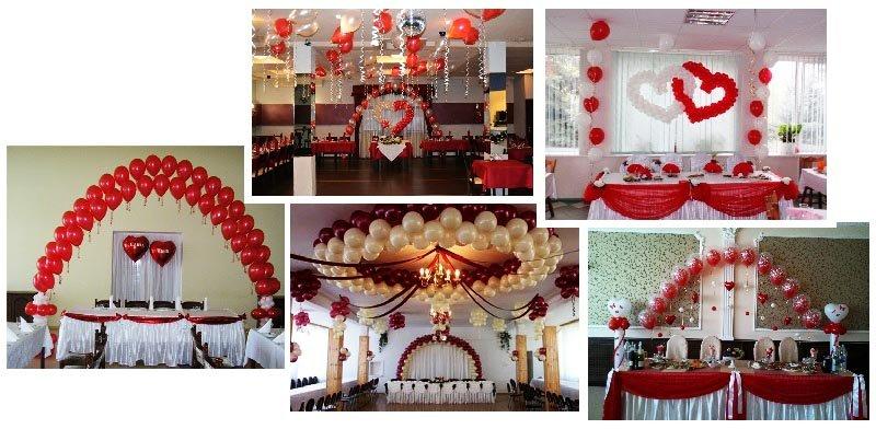 фото оформления зала при помощи воздушных шариков: оформление свадьбы в красном цвете