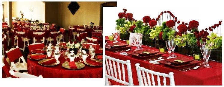 фото оформления столов бордовою скатертью: оформление свадьбы в красном цвете