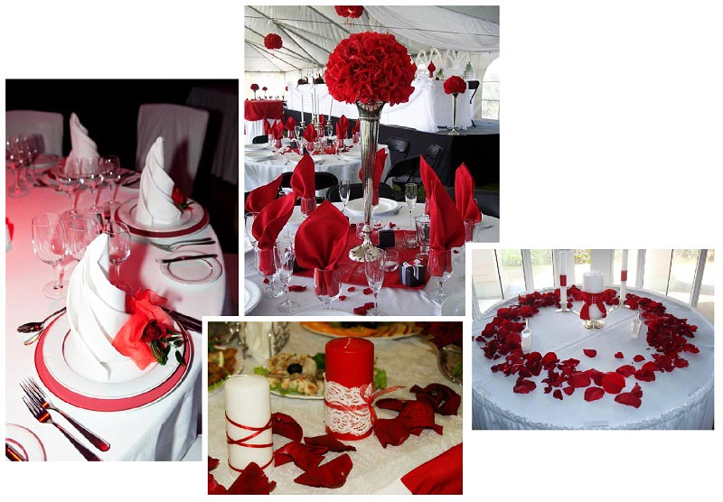 фото оформления столов красными салфетками, букетами, лепестками роз, свечами: оформление свадьбы в красном цвете