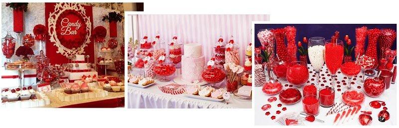 фото организации кенди бара на свадьбу в красном цвете: оформление свадьбы в красном цвете