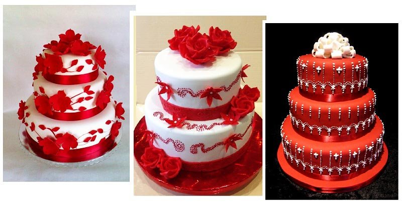 фото оформления торта на свадьбу в красных тонах: оформление свадьбы в красном цвете