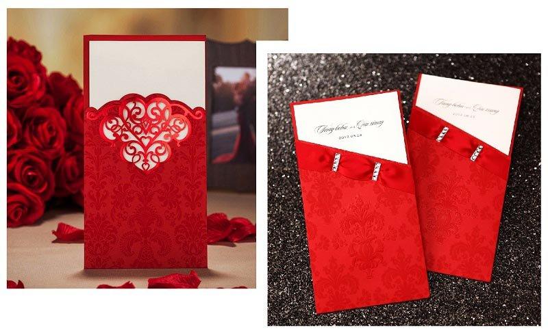 фото классических пригласительных открыток: оформление свадьбы в красном цвете