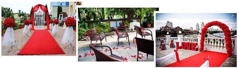 фото свадебных атрибутов: оформление свадьбы в красном цвете