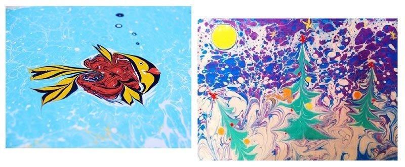 фото водной анимации на детский праздник: шоу эбру в подарок №2