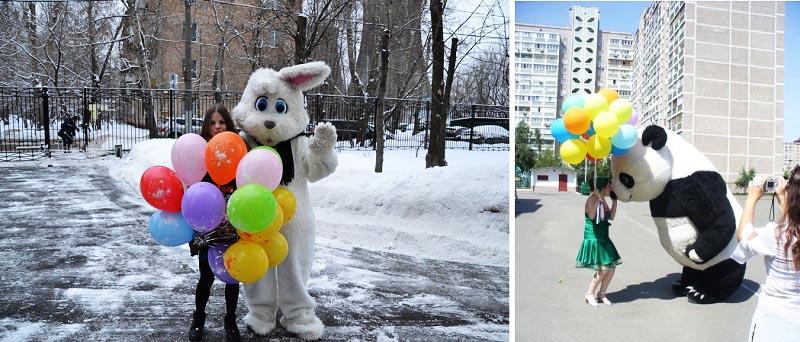 фото ростовой панды и зайца: ростовая кукла на день рождения