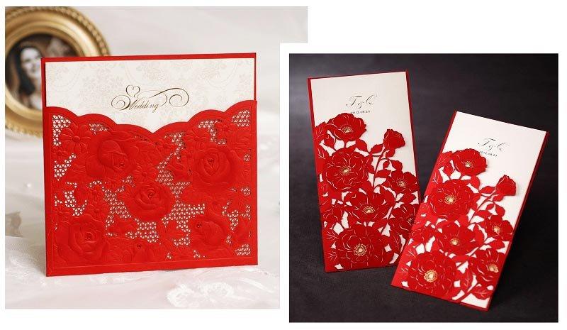 фото пригласительных открыток на белом фоне: оформление свадьбы в красном цвете