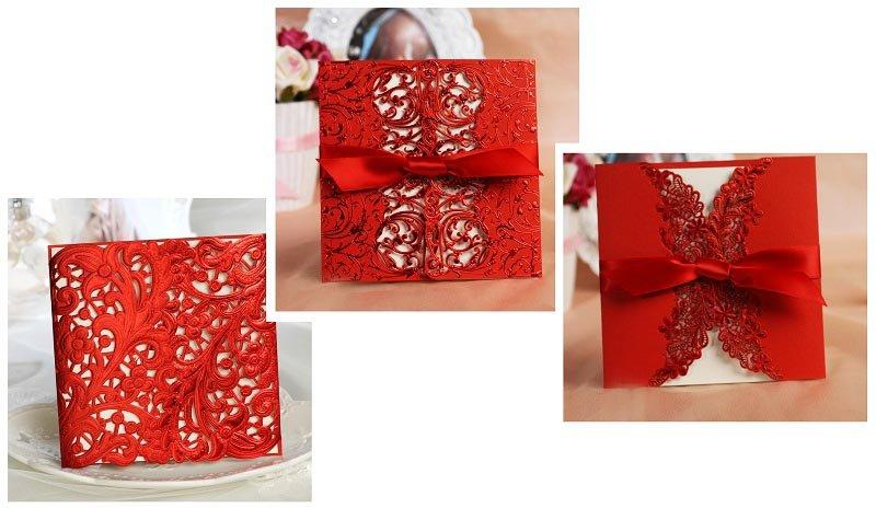 фото пригласительных открыток в красное кружево: оформление свадьбы в красном цвете