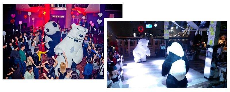 ростовые куклы: белый медведь и панда
