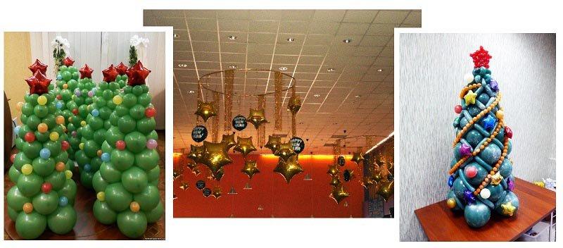 фото елок из воздушніх шариков: оформление новогоднего корпоратива