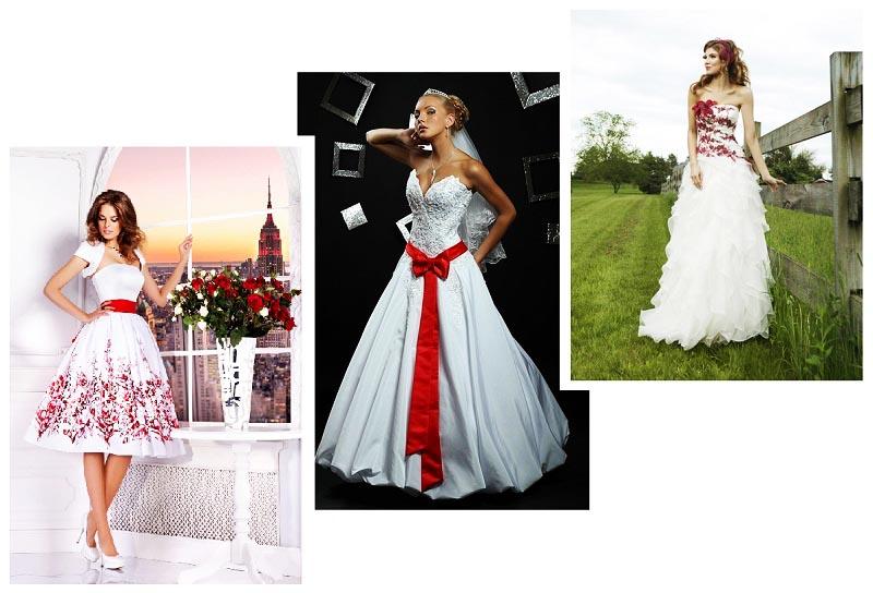 фото классического белого платья с красными элементами: оформление свадьбы в красном цвете