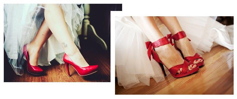 фото алых туфель: оформление свадьбы в красном цвете