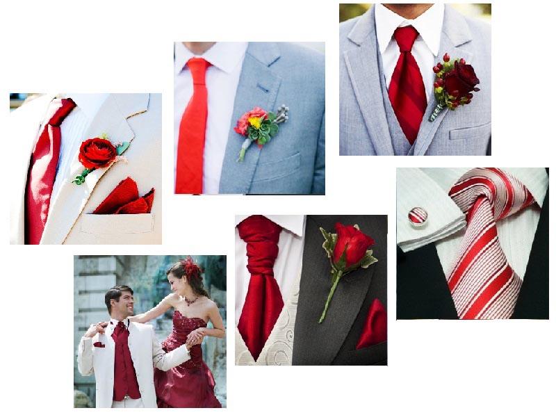 фотографии аксессуаров для жениха: оформление свадьбы в красном цвете