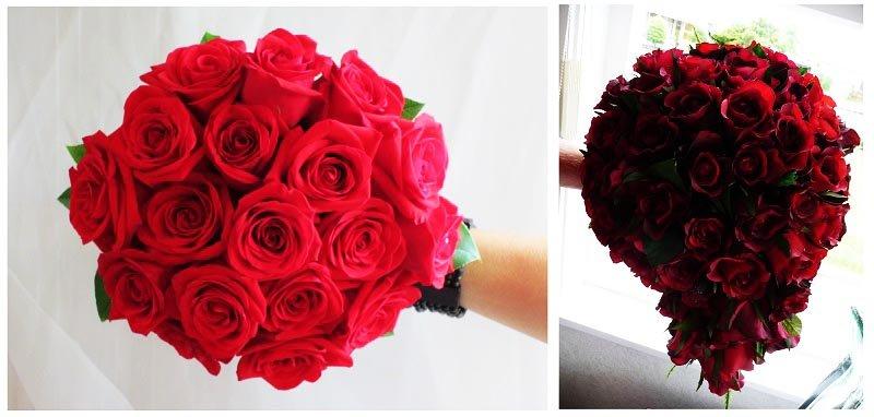 фотографии букетов для невесты: оформление свадьбы в красном цвете