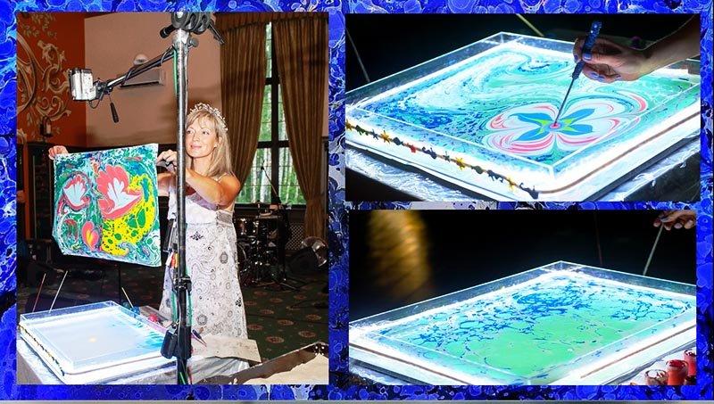 фото выступление художника с водной анимацией: эбру в подарок