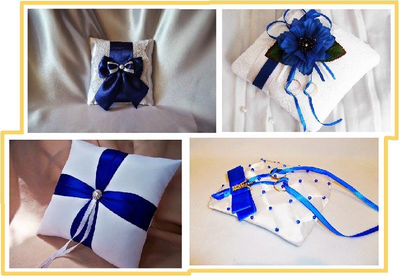 фото оформления подушечек под кольца на свадьбу в синем цвете: оформление свадьбы в синем цвете