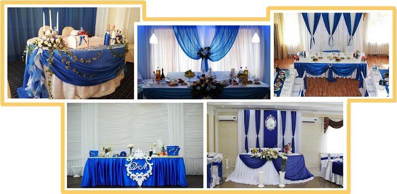 фото оформления зала на свадьбу в синем цвете: оформление свадьбы в синем цвете