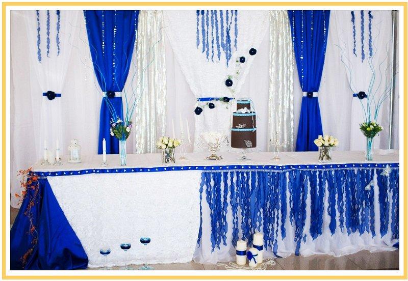 фото оформления зала на свадьбу в синем цвете: оформление свадьбы в синем цвете №2