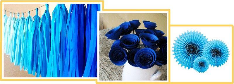 фото оформления свадьбы в синем цвете помпонами, гирляндами, цветами : оформление свадьбы в синем цвете