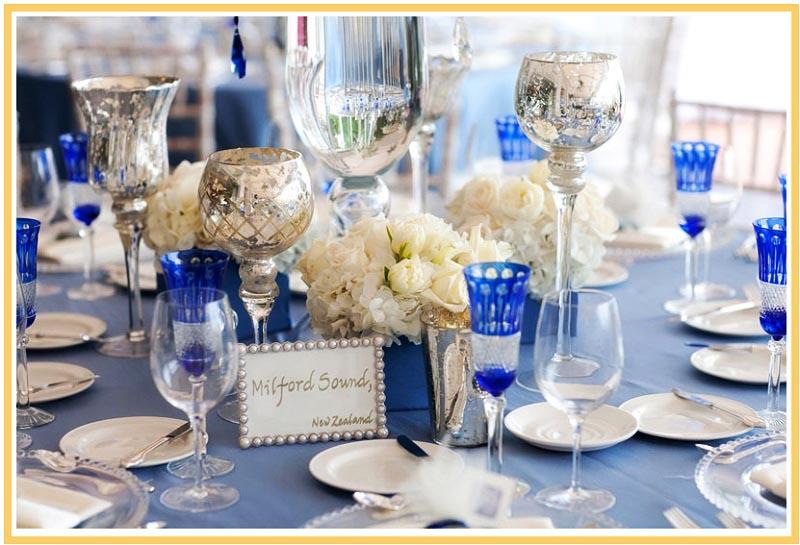 фото оформления посуды на свадьбу в синем цвете: оформление свадьбы в синем цвете