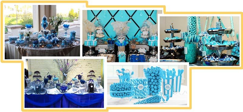 фото оформления кэнди-бара на свадьбу в синем цвете: оформление свадьбы в синем цвете