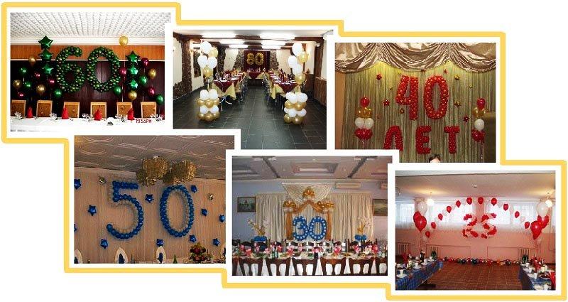 фото оформления юбилейной даты шарами: оформление юбилея шарами №2