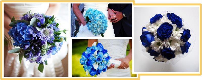 фото букетов оформленных в синем цвете: оформление свадьбы в синем цвете