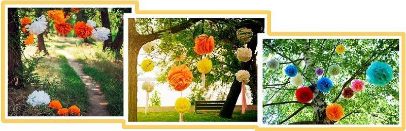 фото помпонов из гофрированой бумаги: день рождения на природе оформление