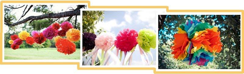 фото помпонов из гофрированой бумаги: день рождения на природе оформление №2