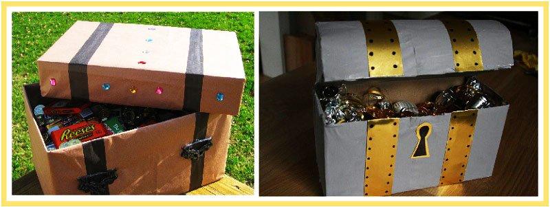 Как из коробки сделать сундук пирата своими руками
