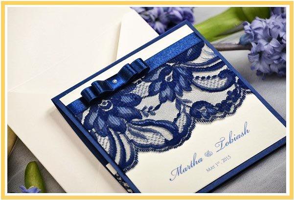 фото пригласительного на свадьбу в синем цвете: оформление свадьбы в синем цвете