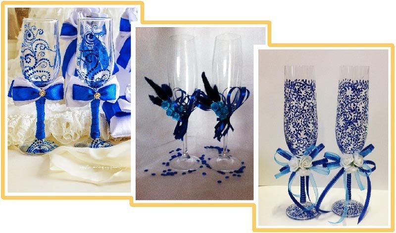 Свадебных бокалов своими руками синий 63