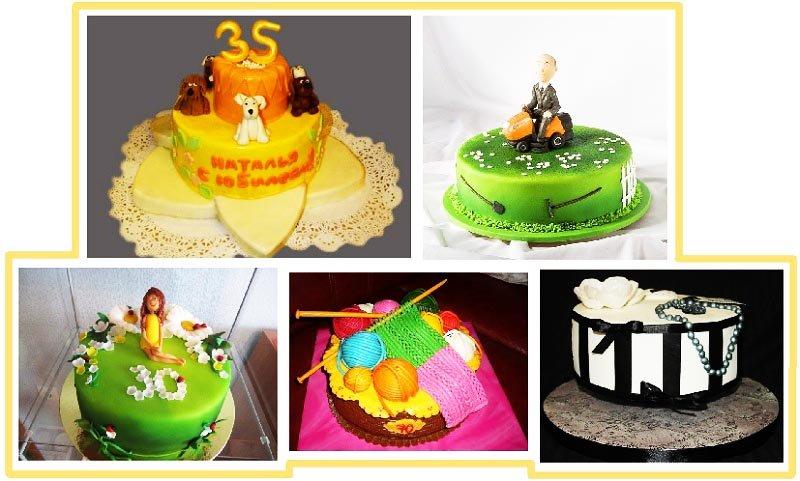 фото вариантов оформления оригинального торта: оформление тортов на юбилей