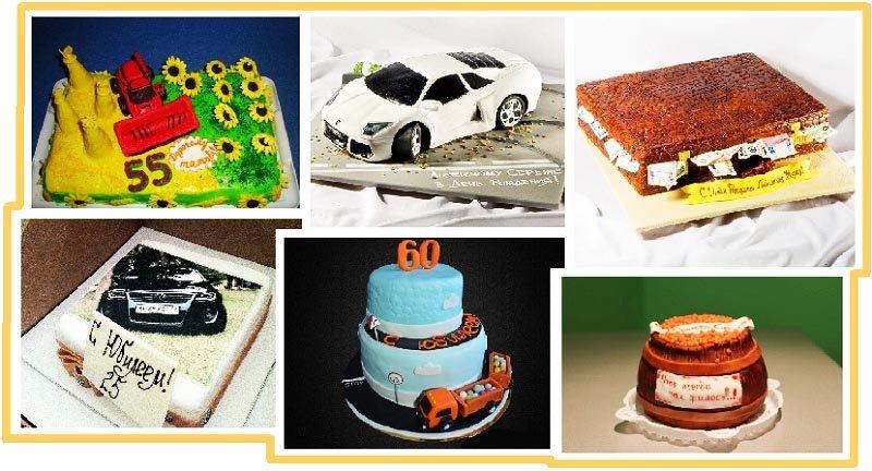 фото вариантов оформления оригинального торта: оформление тортов на юбилей №2