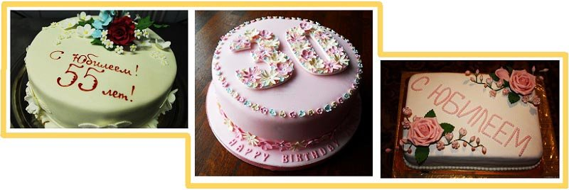 фото вариантов оформления классического торта: оформление тортов на юбилей №2