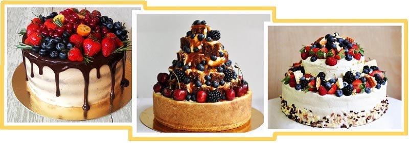 фото вариантов оформления фруктового торта: оформление тортов на юбилей №2